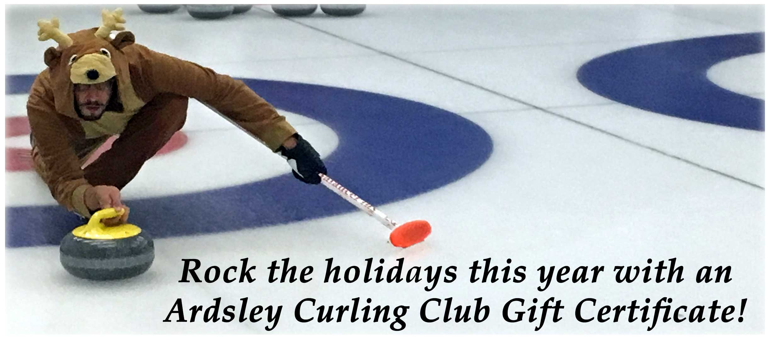 curling raindeer banner